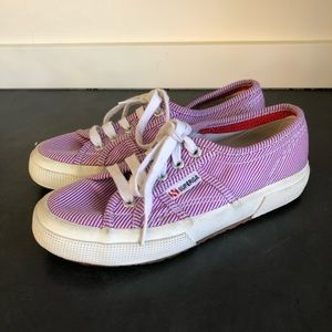 SUPERGA  Purple Striped Lace Up Sneaker Shoes